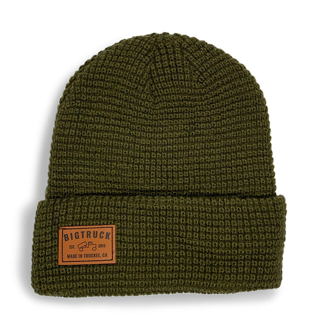 Olive Fold Beanie Leather
