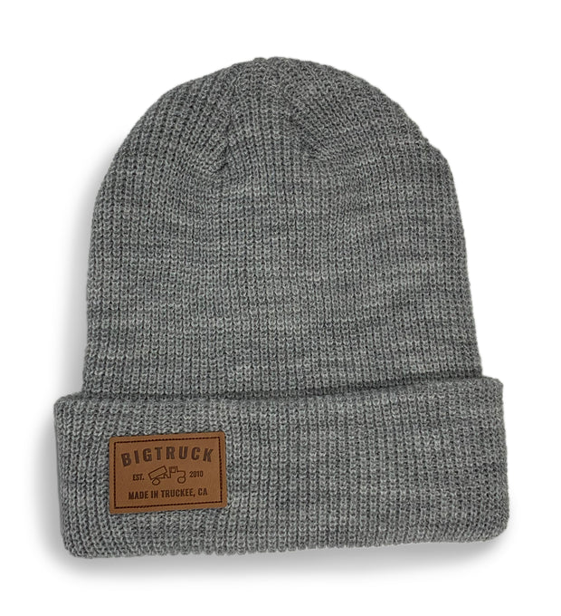 Light Grey Knit Beanie Leather