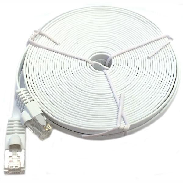 10' Flat CAT6 UTP Network Cable - White - TechCraft