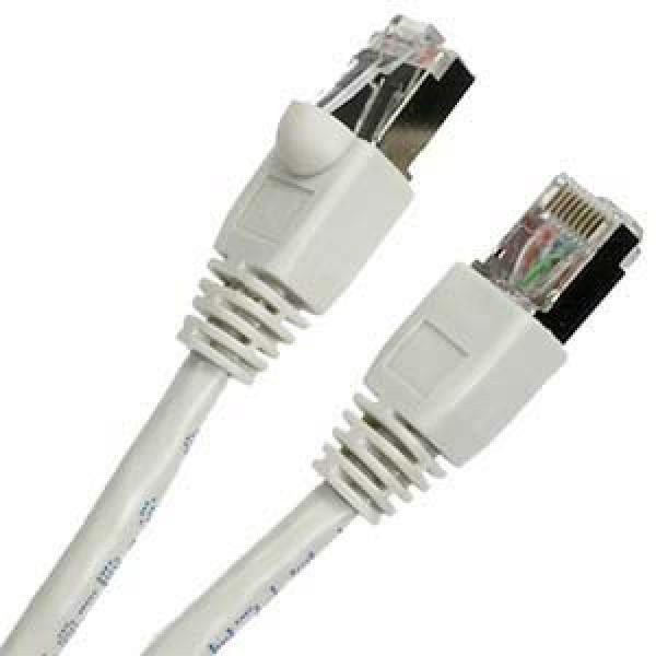 10' Shielded CAT6a (10 GIG) STP Network Cable w/ Metal Connectors -White - TechCraft