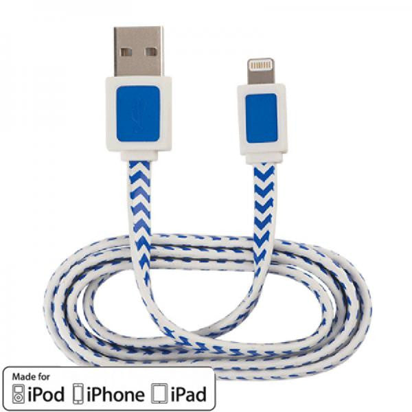 3' USB 2.0 Lightning Cable - Male/Male - White with Blue Stripes - AR