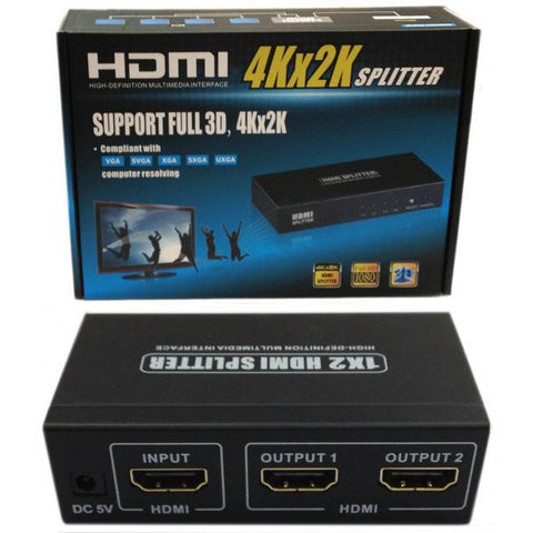2 Way HDMI Distribution Amplifier - HDMI v1.4 - 3D Compatible and 4Kx2K