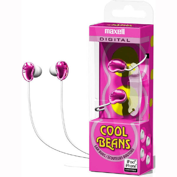 """Cool Beans"" Stereo Earbuds - Pink - Maxell"