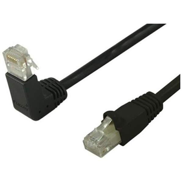 100' CAT6 (500MHz) UTP Network Cable - Down-Straight Angled Connectors - Black