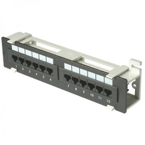 12 Port (1U) Patch Panel - CAT6 110 T568A or T568B - Wall Mount