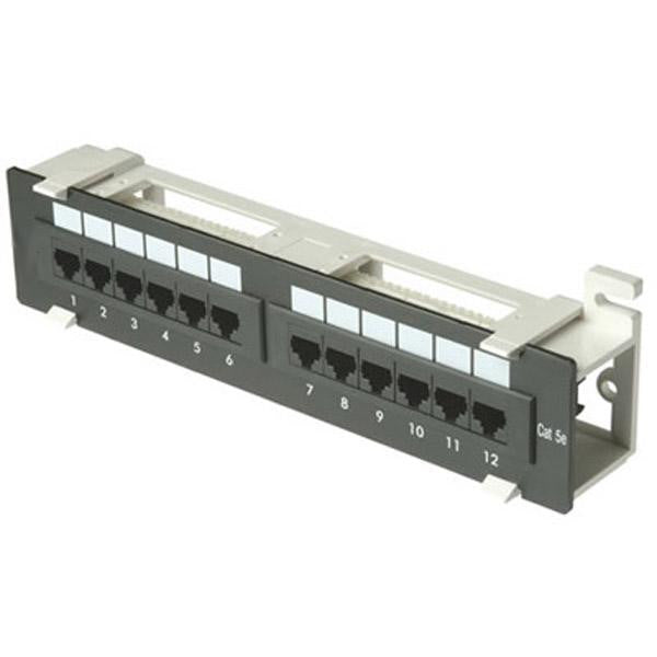 12 Port (1U) Patch Panel - CAT5e 110 T568A or T568B - Wall Mount