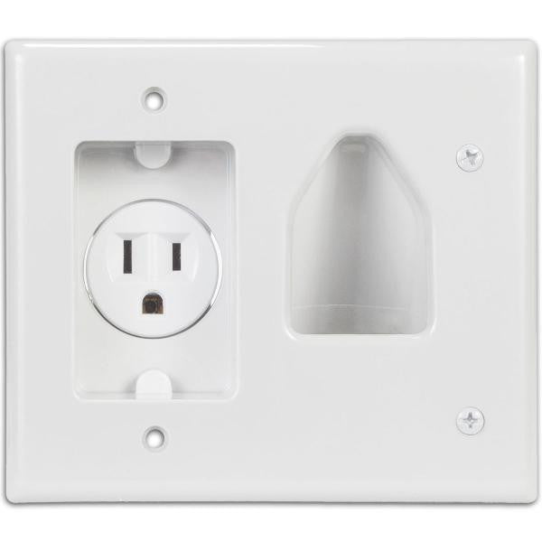 1-Gang Recessed Low Voltage Cable Plate with Recessed Power - White