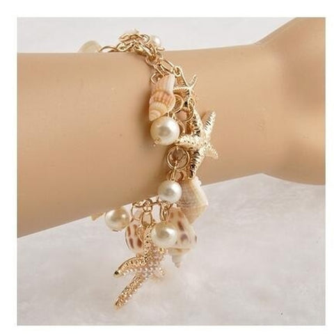 Beach Inspired Seashell and Starfish Charm Bracelet