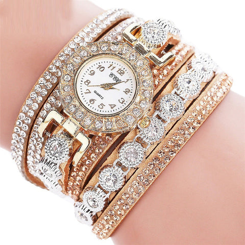 Women's Fashion Casual Quartz Rhinestone Bracelet Watch