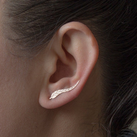 Dainty Leaf Ear Climber Earrings