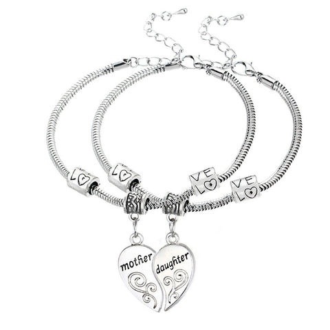 Mother Daughter 2-Piece Heart Charm Bracelet Set
