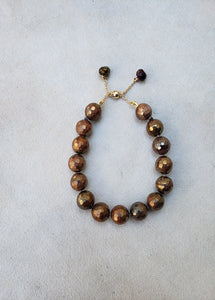 Copper Faceted Pyrite Bracelet