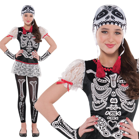 Girls Sassy Skeleton Costume