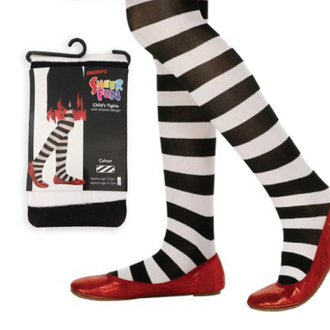 Girls Black & White Striped Tights