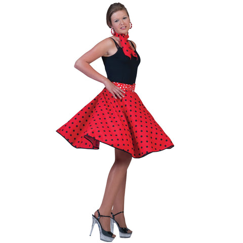 Ladies 1950's Red Polka Dot Skirt