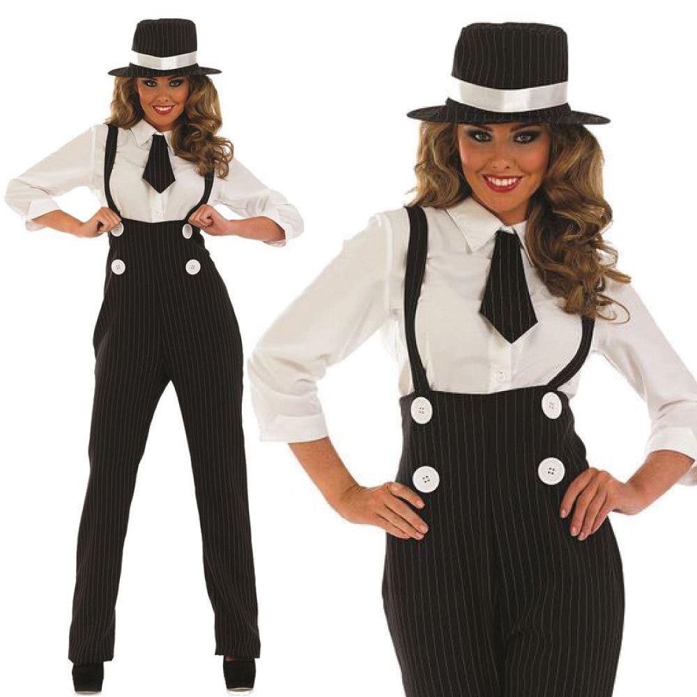 Ladies Gangster Costume Black Pinstripe