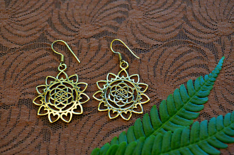 Lotus Heart Brass Earrings