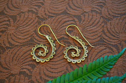 Hand Carved Large Spiral Earrings
