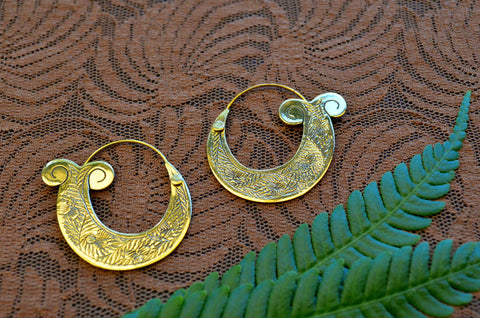 Handcarved Mermaid Tail Brass Earrings