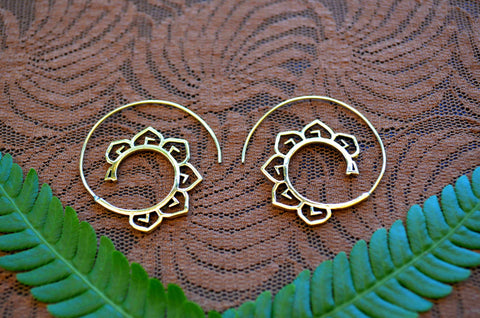 Lotus Spirals - Brass Earrings