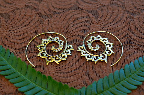 Phoenix Spiral Brass Earrings