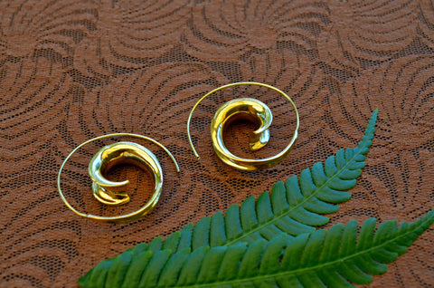 Tribal Spiral Brass Earrings
