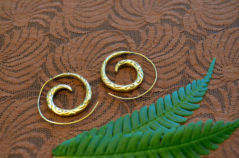 Infinity Brass Spiral Earrings