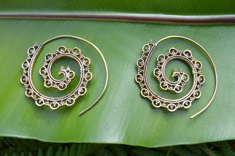 Gypsy Dreamer Brass Spiral Earrings