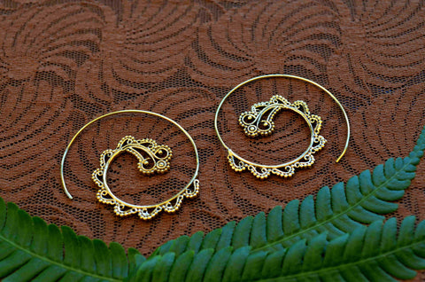 Gaia Brass Spiral Earrings