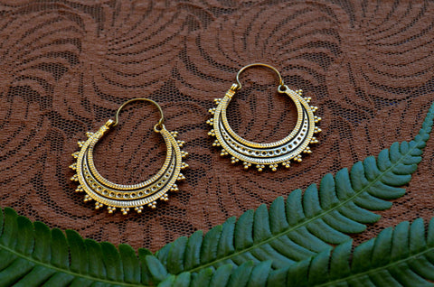 Moon Goddess Brass Earrings