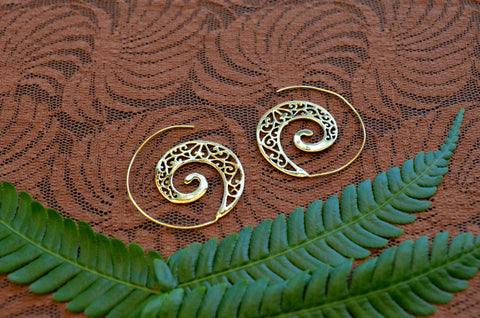 Spiral Wave - Brass Earrings
