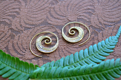 Feather Spiral Brass Earrings