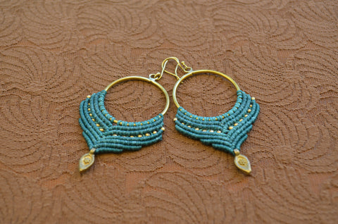 Macrame Earrings - Green