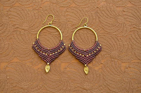 Macrame Earrings - Maroon