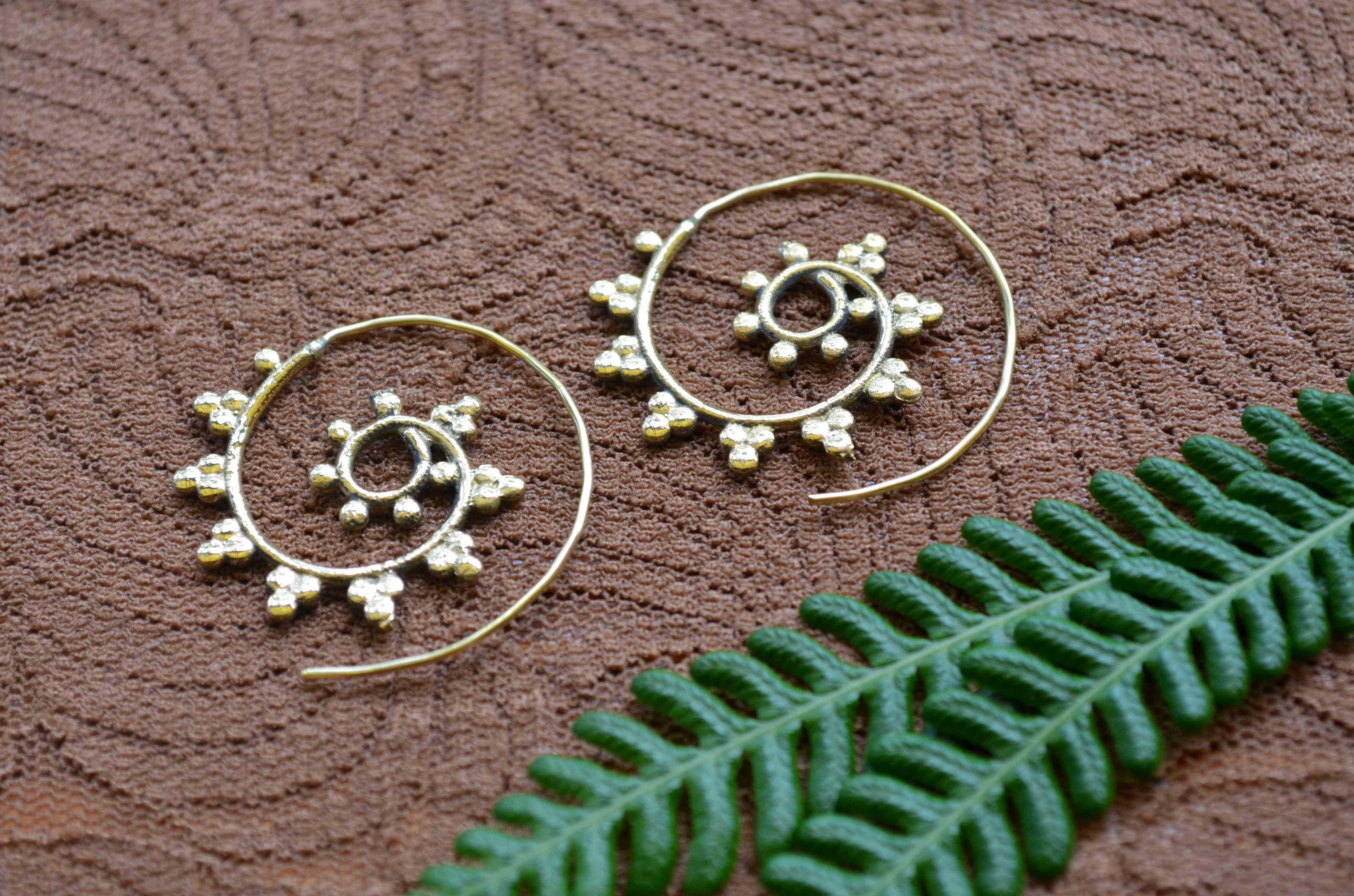 Spiral Brass Earrings