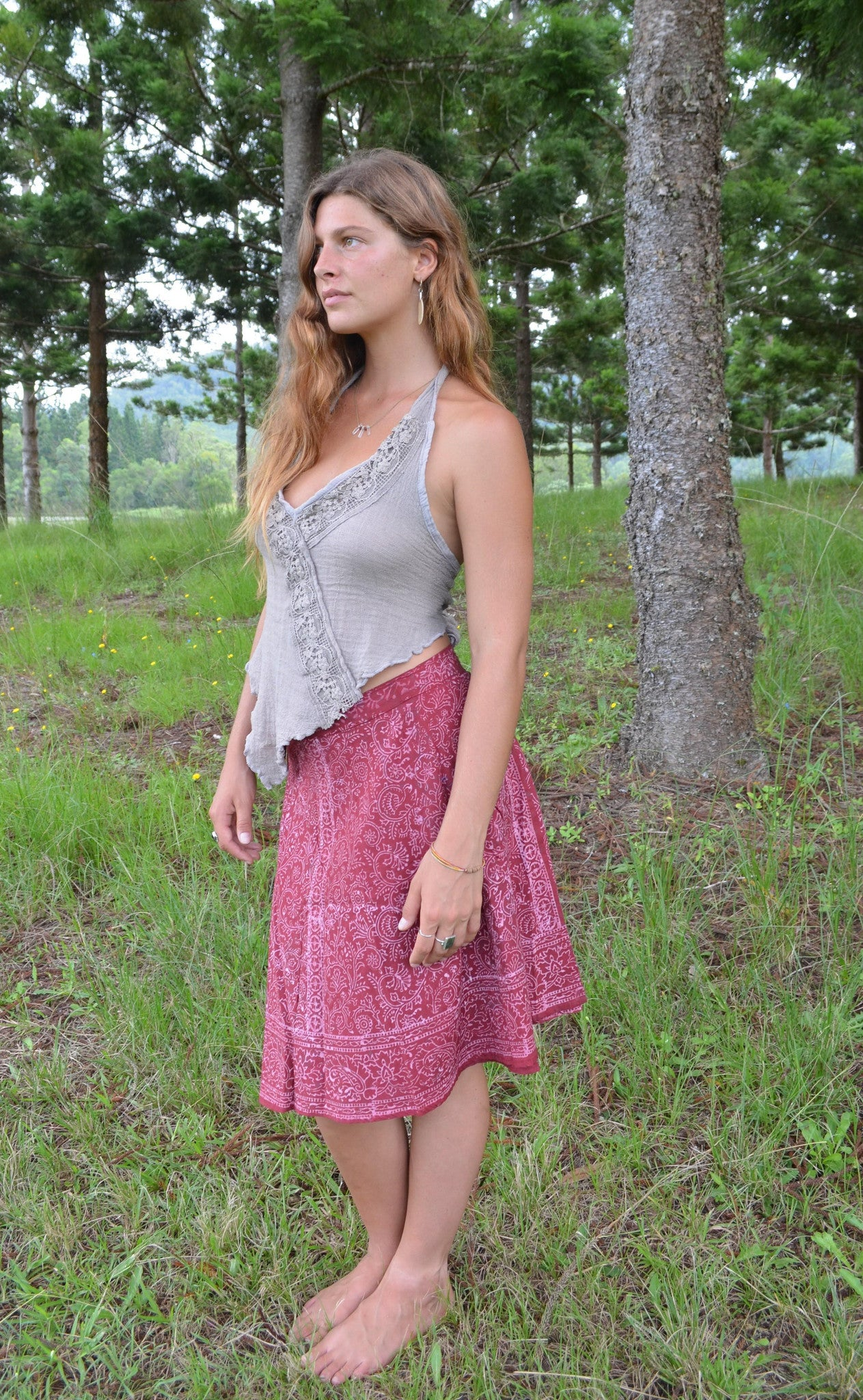 Hand Blocked Wrap Skirt Mid-Length