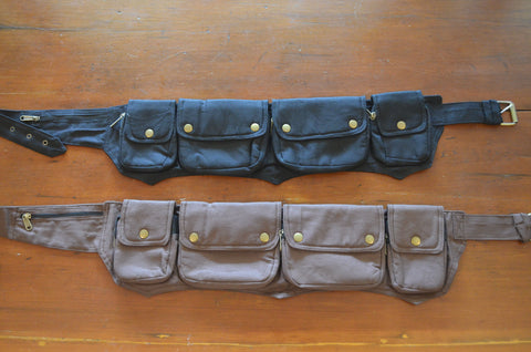 4 Pocket Unisex Cloth Canvas Pocket Belt