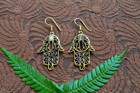 Hamsa Brass Earrings