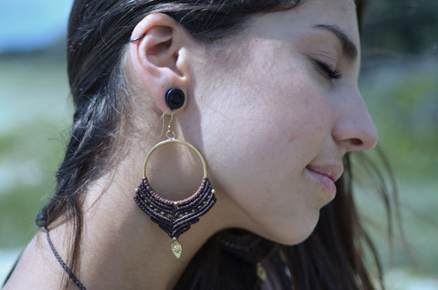 Macrame Earrings - Brown