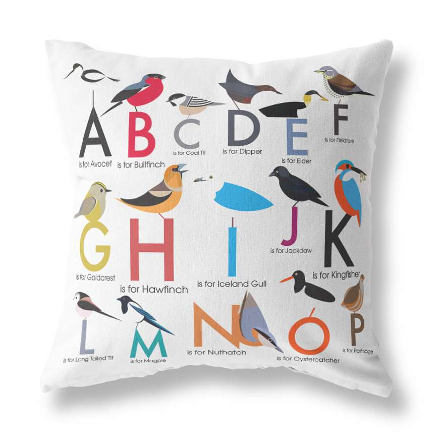 Alphabet of Birds Cushion Cover