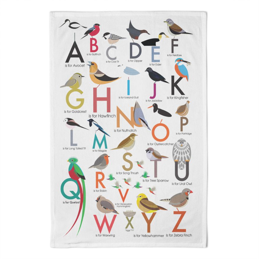 Alphabet of Birds Tea Towel