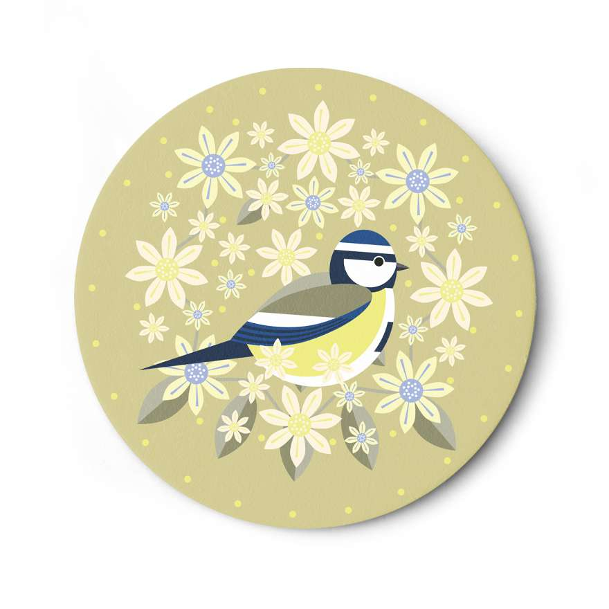 Birds & Blooms: Blue Tit Coaster