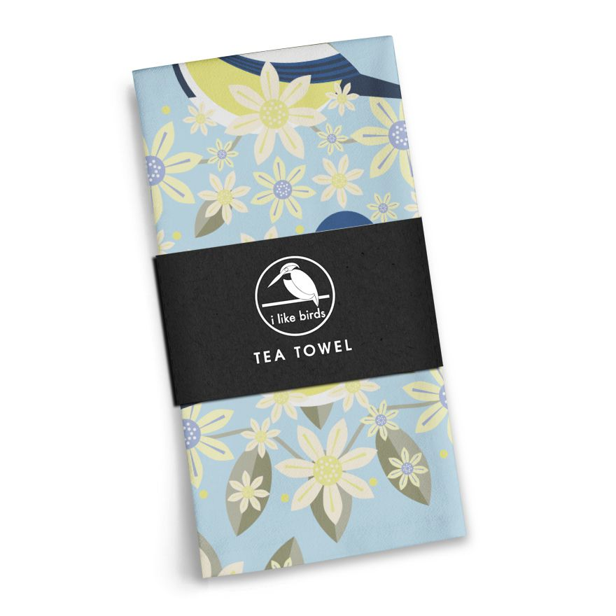Birds & Blooms Blue Tit Tea Towel