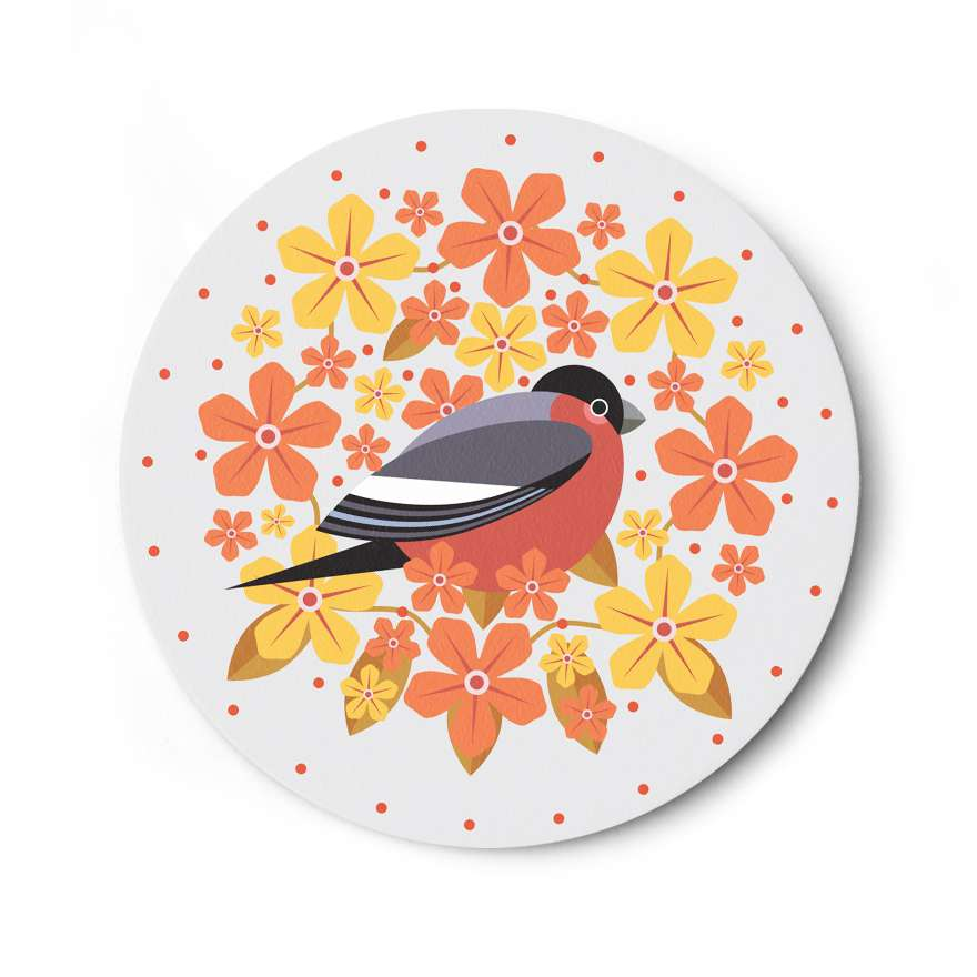Birds & Blooms: Bullfinch Coaster
