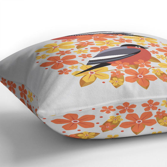 Birds & Blooms Bullfinch Cushion Cover