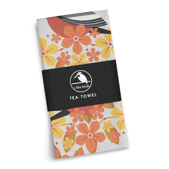 Birds & Blooms Bullfinch Tea Towel
