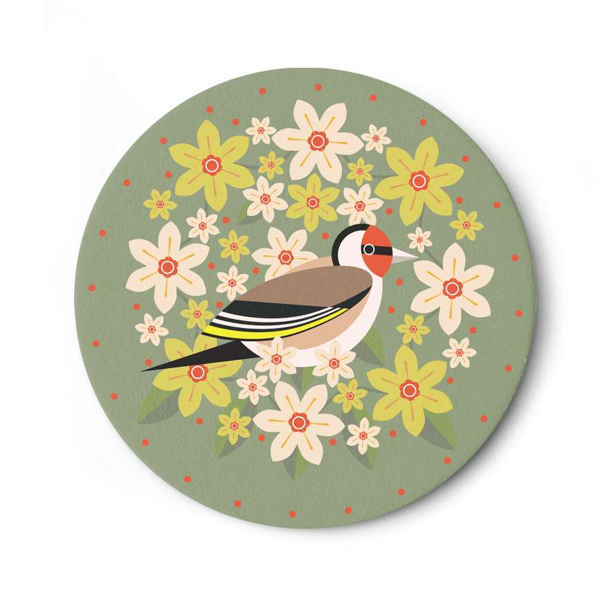 Birds & Blooms: Goldfinch Coaster