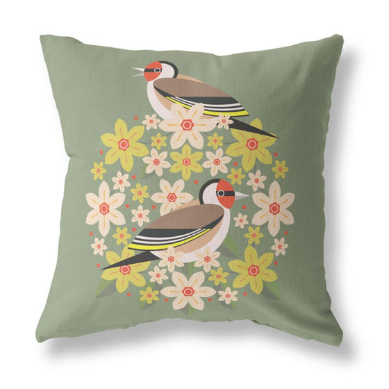 Birds & Blooms Goldfinch Cushion Cover