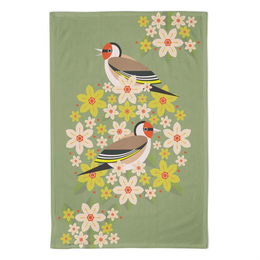 Birds & Blooms Goldfinch Tea Towel