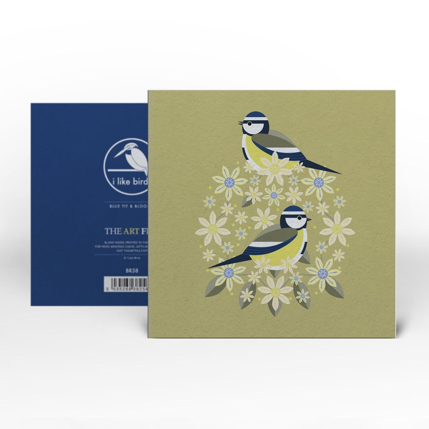 Greeting Card | Blue Tit : Birds & Blooms